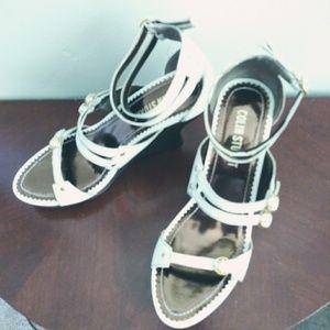 Colin Stuart white wedge sandals size 8.5